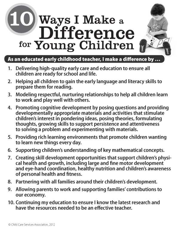 10 Ways I Make a Difference for Young Children Poster (English Version)