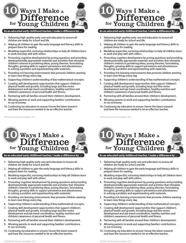 10 Ways I Make a Difference for Young Children Talking Points