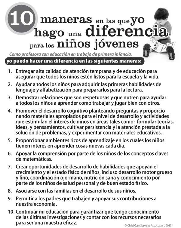 10 Ways I Make a Difference for Young Children Poster (Spanish Version)