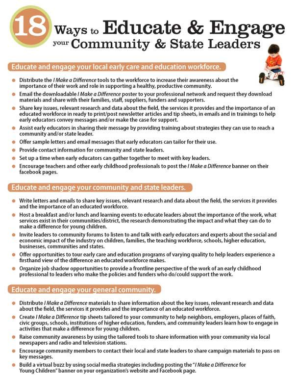 18 Ways to Educate and Engage your Community and State Leaders